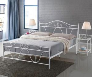 Pat dormitor alb din otel 160x200 cm