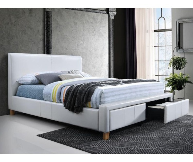 Pat dormitor alb tapitat cu piele ecologica si 2 sertare 160x200 cm