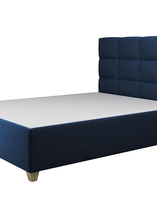Pat dormitor albastru inchis cu somiera rabatabila 160x200 cm