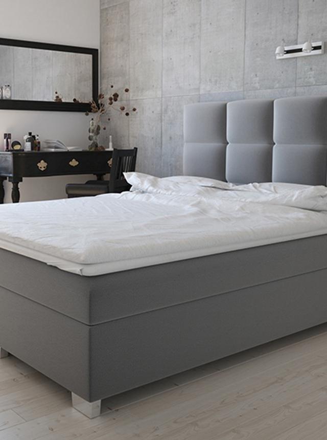Pat dormitor gri tapitat cu spatiu pentru depozitare 160x200 cm