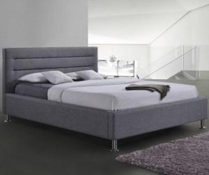 Pat dormitor gri tapitat somiera inclusa 160x200 cm