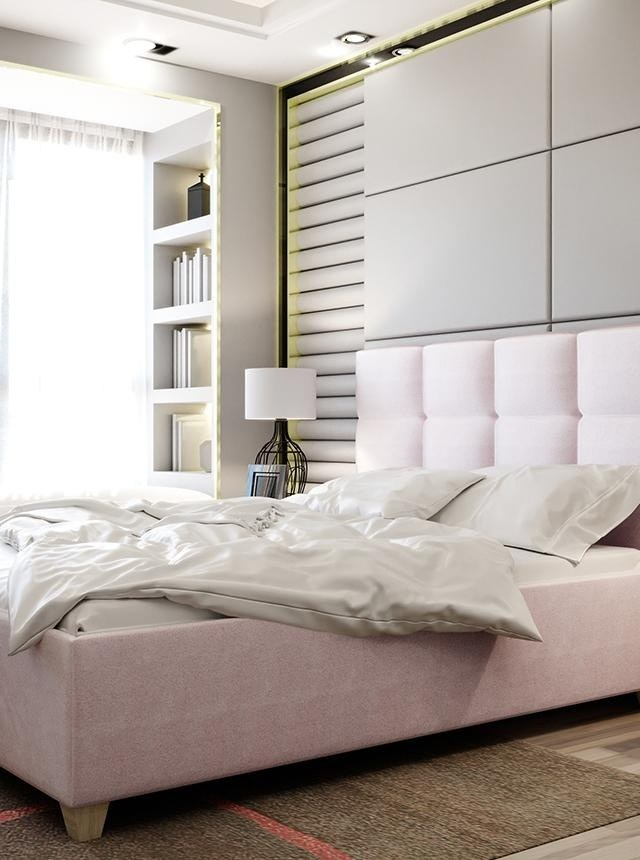 Pat dormitor roz cu somiera rabatabila 180x200 cm