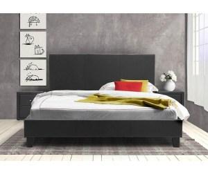 Pat dormitor tapitat gri inchis cu somiera 150x200 cm