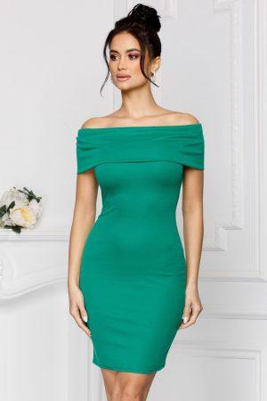 Rochie de seara eleganta scurta mulata verde cu umerii goi fermoar la spate