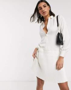 Rochie de zi alba scurta tip camasa