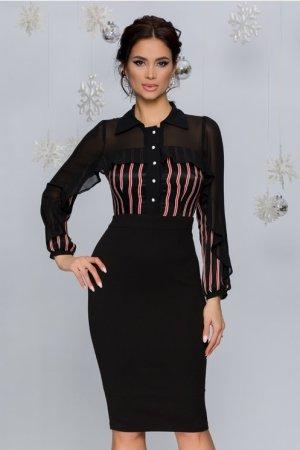 Rochie eleganta conica neagra cu dungi caramizii la bust si maneci lungi