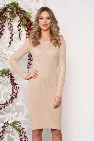 Rochie eleganta crem conica midi din bumbac usor elastic cu maneci lungi