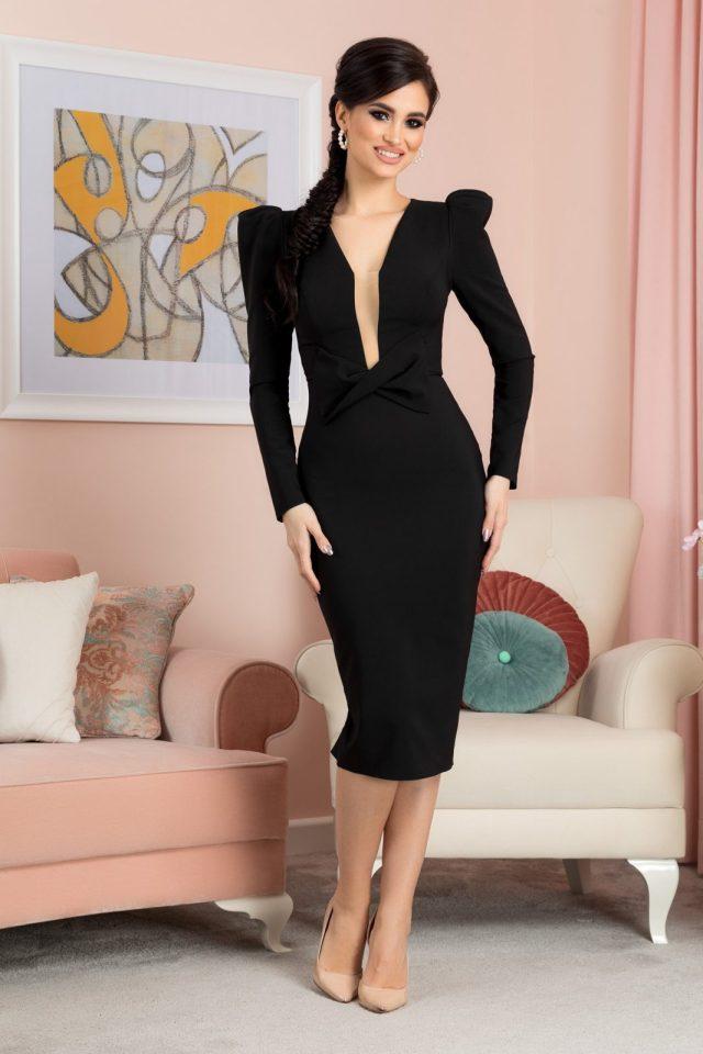 Rochie eleganta de ocazie midi neagra cu umeri bufanti si maneci lungi