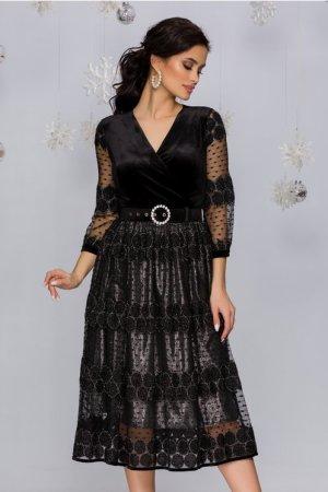 Rochie eleganta de ocazie neagra cu argintiu si insertii din fir lurex