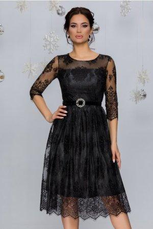 Rochie eleganta din dantela neagra cu insertii din lurex si decolteu rotund