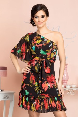 Rochie eleganta din voal cu volane si imprimeu floral colorat