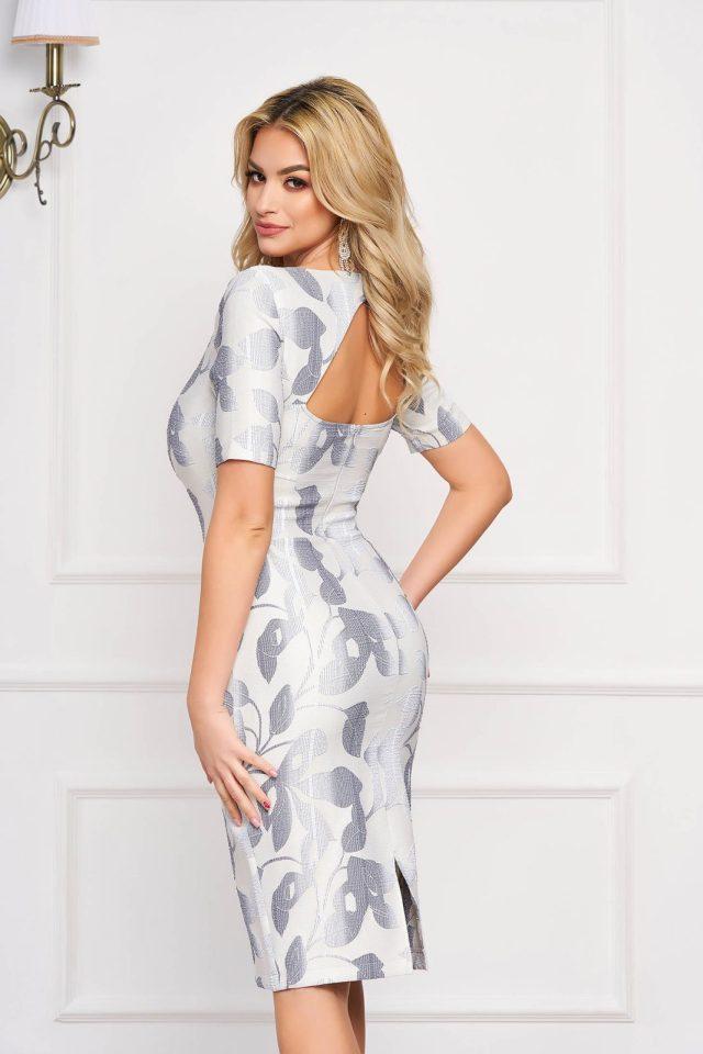 Rochie eleganta midi albastru-deschis mulata din stofa cu spatele gol