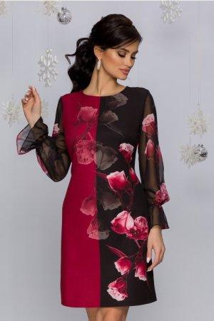 Rochie eleganta midi cambrata bordo cu negru si imprimeu floral in degrade