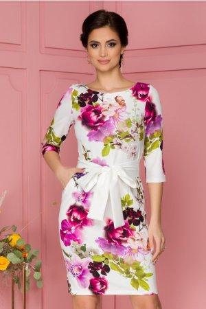 Rochie eleganta midi conica alba cu imprimeuri florale roz si cordon