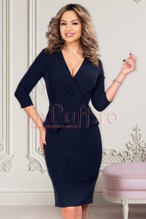 Rochie eleganta midi conica bleumarin cu peplum asimetric si decolteu in V