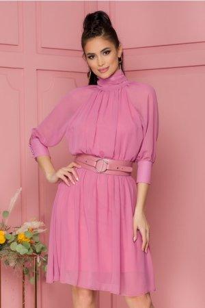 Rochie eleganta midi in clos roz inchis cu guler si decupaj la spate