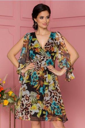 Rochie eleganta midi in clos vaporoasa cu imprimeu floral si decolteu in V