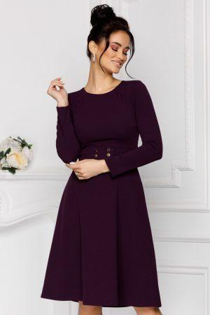 Rochie eleganta midi in clos violet cu maneci lungi si decolteu rotund