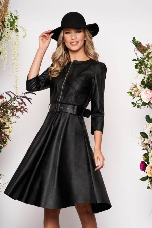 Rochie eleganta midi neagra de zi in clos din piele ecologica si curea
