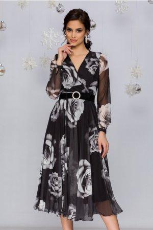 Rochie eleganta midi neagra din tull cu trandafiri gri si decolteu in V