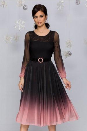 Rochie eleganta midi negru in clos cu roz in stil degrade si maneci lungi