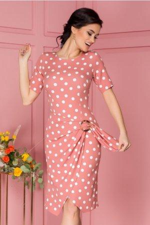 Rochie eleganta midi roz prafuit cu buline albe si aspect petrecut