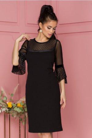 Rochie eleganta neagra cu decolteu si maneci din tull cu buline argintii