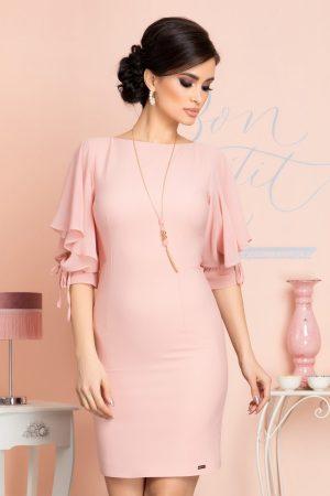Rochie eleganta scurta conica roz cu maneci treisferturi din voal