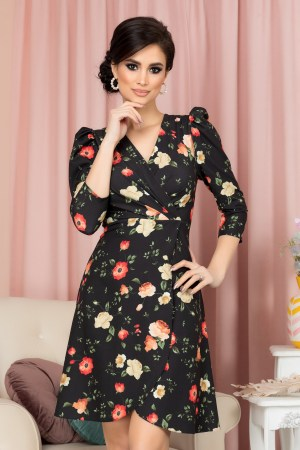 Rochie eleganta scurta in clos cu imprimeu floral si decolteu petrecut V
