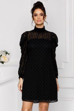 Rochie eleganta scurta neagra cu buline din catifea si maneci lungi