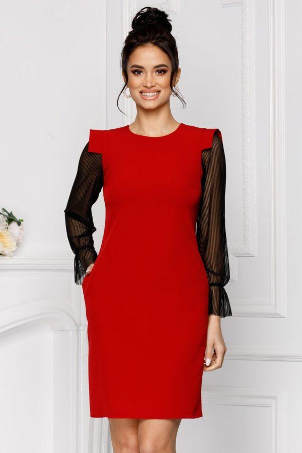 Rochie eleganta scurta rosie lejera cu maneci lungi si decolteu rotund