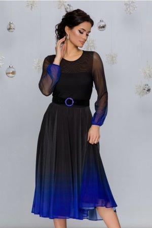 Rochie elegnta midi negru cu albastru in degrade ombre si decolteu rotund
