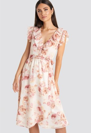 Rochie midi cu decolteu in V si imprimeu floral