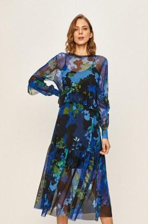Rochie midi eleganta albastra cu imprimeu colorat