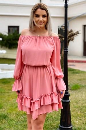 Rochie de zi eleganta roz prafuit cu volane asimetrica
