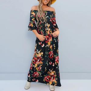 Rochie de zi lunga cu imprimeu colorat si maneci lungi