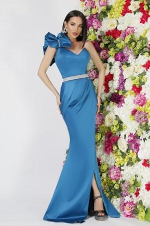 Rochie eleganta de ocazie lunga albastra din tafta cu volane pe umar