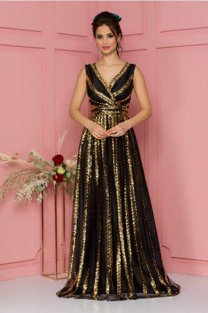 Rochie eleganta de ocazie lunga neagra din tull cu paiete aurii decolteu V