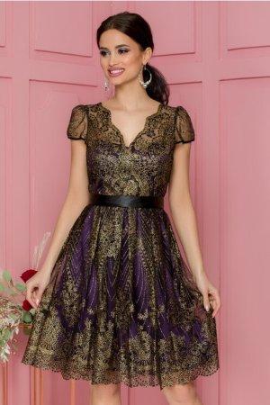Rochie eleganta de ocazie midi mov cu insertii aurii si cordon in talie