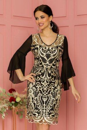 Rochie eleganta de ocazie neagra midi cu broderie in stil vintage bej
