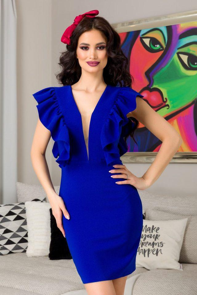 Rochie eleganta de ocazie scurta albastra cu decolteu V cu tull si volane
