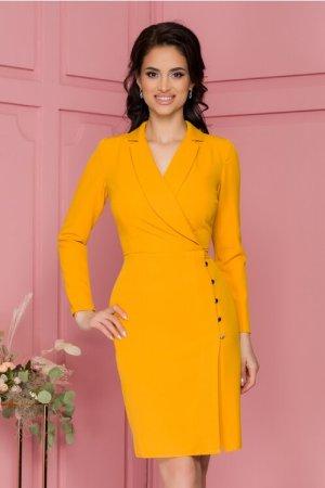 Rochie eleganta galbena petrecuta cu rever tip esarfa si nasturi pe fusta