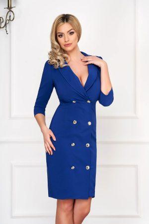 Rochie eleganta midi albastra tip sacou din stofa cu decolteu petrecut V