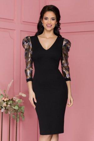 Rochie eleganta midi conica neagra cu decolteu V si detalii stralucitoare