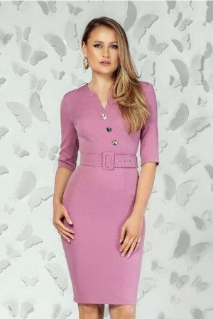 Rochie eleganta midi conica roz cu decolteu petrecut si nasturi la bust