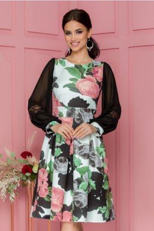 Rochie eleganta midi in clos cu imprimeu floral roz si pliuri maxi in talie