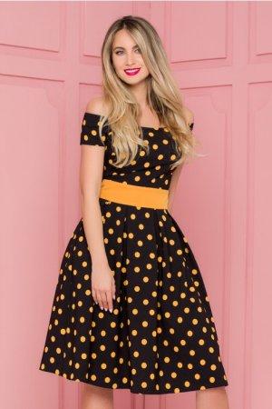Rochie eleganta midi in clos neagra imprimata cu buline galben mustar