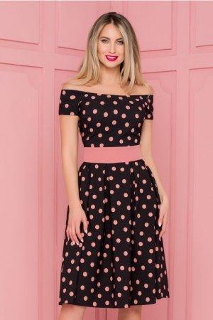Rochie eleganta midi in clos neagra imprimata cu buline roz prafuit
