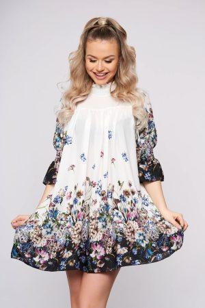 Rochie eleganta scurta alba din voal pe gat cu maneci scurte si imprimeu