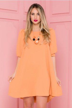 Rochie eleganta scurta in clos orange vaporoasa cu nasturi la spate
